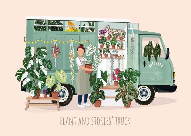 Laura de @le_jardin_de_laura devant le Plant Truck de Plant and Stories